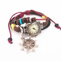 Leather Belt Watch with Helm Pendant and Wooden Beads FHYG135