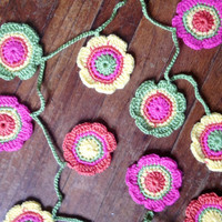 Hand Crochet Easter Garland Small Doily Decoration 12 Flowers Bunting Banner -Pink Dreamcicle Orange Sunshine Yellow Key Lime Pie Green