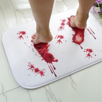 Autumn Fall welcome door mat doormat Non Slip Bloody Bath Mat Microfiber Memory Foam Bath Mat Creative The Blood Footprint Antiskid Mat Terror Floor  AT_76_7