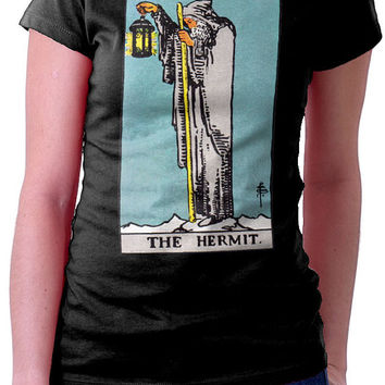Wicca Witch Pagan Magic Tarot Arcana Trump T Shirt The Hermit Mens Ladies Waite Rider Led Zeppelin ZOSO