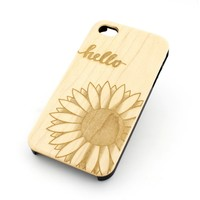 W94 Wood Case for APPLE IPHONE 4 4S Cover - HELLO SUNSHINE (SUNFLOWER)