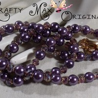 Purple Delight Necklace Set with Glass Pearls and Czech Beads | KraftyMax - Jewelry on ArtFire