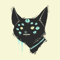 Many-Eyed Cat Monster Matte Art Print