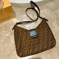 Fendi Fendi old flower baguette printed limited edition chain bag Canvas Coffee
