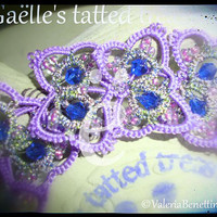 Lace bracelet 'A Butterflies dance' hand tatted bracelet, lace jewel, handmade, original
