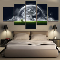Home Decor 5 Piece Green Earth Wall Pictures Canvas Abstract Painting On Canvas Art For Living Room Print Decor(No Frames)