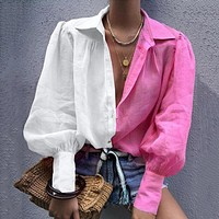 New product women's lapel long sleeve two-color stitching shirt top
