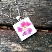 Real flower necklace - Pink periwinkle flower - Pressed spring flower jewelry - Botanical - Nature inspired necklace - Square silver pendant