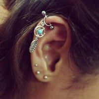 Helix Cartilage Bar Piercing 16g Dream Catcher Industrial Feather Turquoise Beaded Dreamcather Cuff Barbell 16 G Gauge