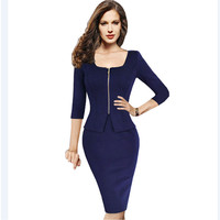 Womens Spring Autumn Fashion Pinup Vintage Front Zipper Outfit Half Sleeve Elegant Solid Colors Ladies Office Business Dress 898