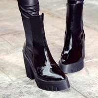 Women Fashion Patent Leather Pointed Top Platform Ankle Boots