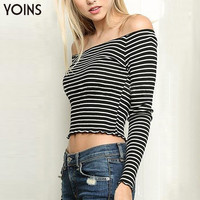 YOINS 2016 New Summer Women Sexy Off Shoulder Long Sleeves Crop Top Fahsion Stripe Slash Neck T-Shirt Casual Slim Female Shirt
