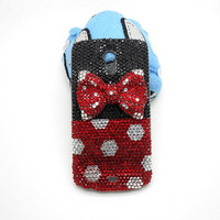 Handmade hard case for Samsung nexus galaxy i515 : Bling red diamond bow (customized are welcome)
