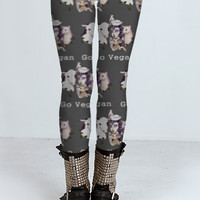 Go Vegan Art Digital Printed Leggings