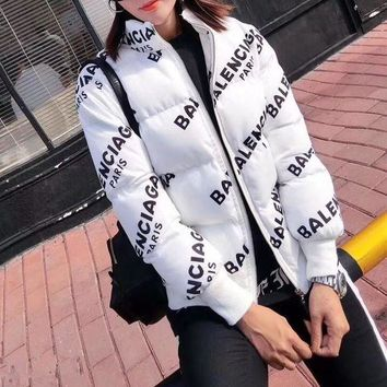 ONETOW balenciaga women simple fashion logo letter print long sleeve zip cardigan cotton padded clothes coat 2