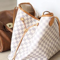 LV Louis Vuitton Fashion Women Shopping Leather Tote Handbag Shoulder Bag Purse Wallet Set Two-Piece