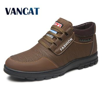 VANCAT Winter Men Fashion Leather Boots Casual Men Leather Moccasin Brand Winter Men Shoes Men Ankle Boots Cheap Cowboy Boots