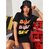 Letter Graphic Longline Tee