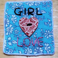 Girl Love feminist patch. Handmade with Liberty of London fabric and red interesting V&A clay button. Gay pride. Pro feminism. Femme.