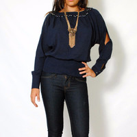 (alz) Pearls trimming long sleeves navy blue blouse