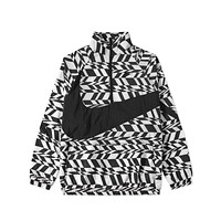 Nike Men's AOP Swoosh Black White Half Zip Woven Jacket
