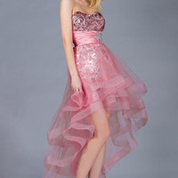PRIMA C13060 Sequin Ribbon Edge High Low Prom Dress