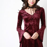 Crushed Velvet Choker Bell Sleeve Dress