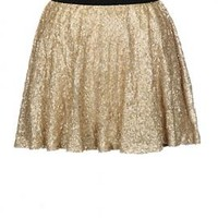 Glitz and Glamour Sequin Skater Mini Skirt in Gold   Sincerely Sweet Boutique
