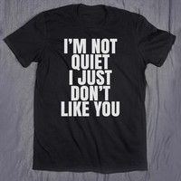 Tumblr Top  I'm Not Quiet I Just Don't Like You Slogan Tee Funny Sarcastic I Hate You Go Away T-shirt