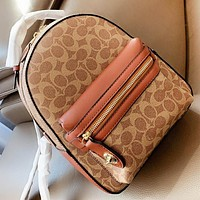 COACH New fashion pattern leather leisure backpack bag handbag women