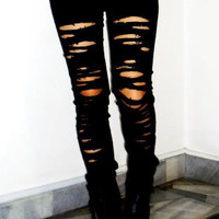 Black Ripped Skinny Jeans- Trashed- Cut Jeans- Rocker-Grunge