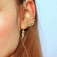 Leaf Design Ear Climber 1pc