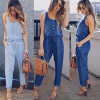 Fashion summer jumpsuit woman 2018 Holiday Playsuit Jeans Demin Elastic Waist Strappy Long jumpsuit pantaloni siamesi A03#N
