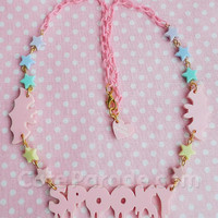 Pink Spooky Dripping with Cute Bats Pastel Hearts Acrylic Necklace /Fairy Kei /Kawaii /Creepy Cute/ Pastel Goth