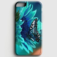 Teal Flower And Butterfly iPhone 8 Plus Case