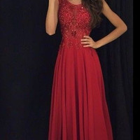 Floor Length  Prom Dress With applique and beadings  I082
