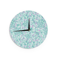 """Julia Grifol """"My Turquoise Flowers"""" Teal Pink Wall Clock"""