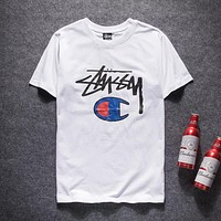 Stussy x Champion Woman Men Fashion Tunic Shirt Top Blouse