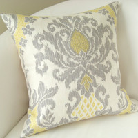 Yellow Gray Damask Pillow Cover 18 Inch Ikat Decorative Pillow Accent Cushion Cover