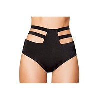 Strappy Solid High Waist Strapped Shorts