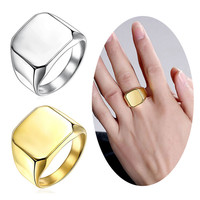New Fine Jewelry Men's High Polished Signet Solid Stainless Steel Ring Stainless Steel Biker Ring For Men's Jewelry HB88