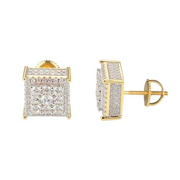 Sterling Silver Square Cluster Bling 14k Gold Finish Earrings