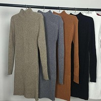 2016 Spring Autumn Winter Women Dress Slim S-Line Medium Style Knitted Dress Basic Solid Half Turtleneck Sweater Dress