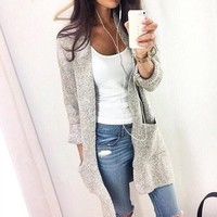 Fashion Long Cardigan Splicing Solid Color Sweater(Extra large code)