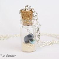 Cute guinea pig in bottle necklace, Ready to ship