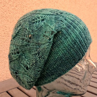 Knit Slouchy Hat, Cashmere Silk Hat, Green Lace Toque, Green Silk Cashmere Beanie, Fall Winter Slouchy, Womens Teens Slouchy, Green Openwork