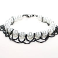 White Pearl Beaded Bracelet, Hanging Chain Bracelet, Gunmetal Chain Bracelet, Bracelets for Women