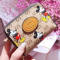 GUCCI & Disney New fashion more letter mouse print leather wallet purse handbag