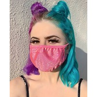 Bubblegum/Gold Sparkly Foiled Face Mask