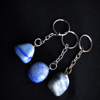 1 Tumbled Blue Lace Agate KeyChain, Agate Key Ring, Shades of Blue Color, Blue Agate Key Chain, Natural Stone,  Metaphysical, IsleOfCraftin
